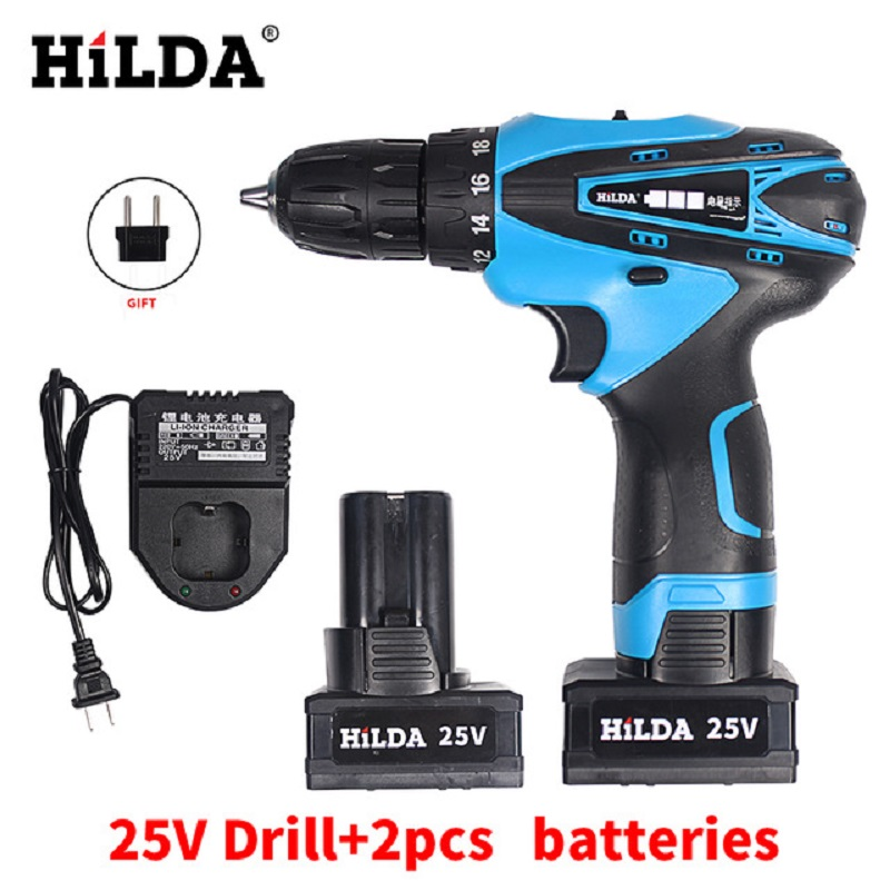 HILDA25V LED Light Cordless Screwdriver Electric Drill Two-Speed Rechargeable 2 pcs Lithium Batteries Waterproof Electric Drill 25v cordless drill electric two speed rechargeable 2pcs lithium battery waterproof drill led light
