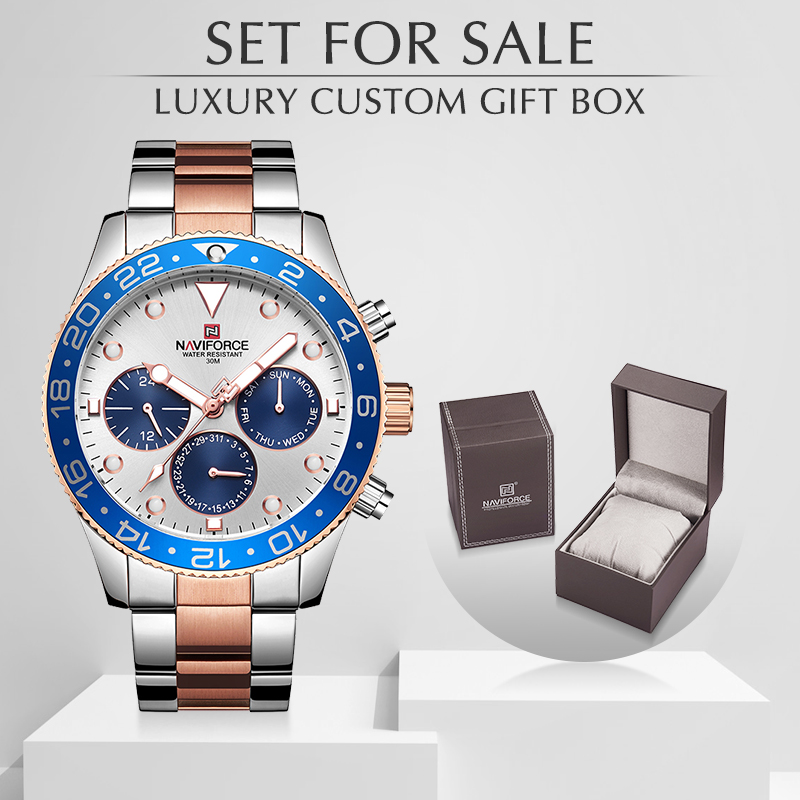 Watch Men NAVIFORCE Top Luxury Brand Fashion Casual Quartz Business Watches With Box Set For Sale Full Steel Waterproof Clock
