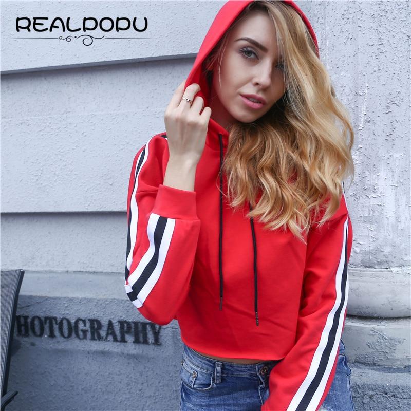 Realpopu 2017 Black Red Spring Sexy Short Cotton Kawaii Hoodies Long Sleeve Sweatshirt Casual Streetwear Striped Women Jumper