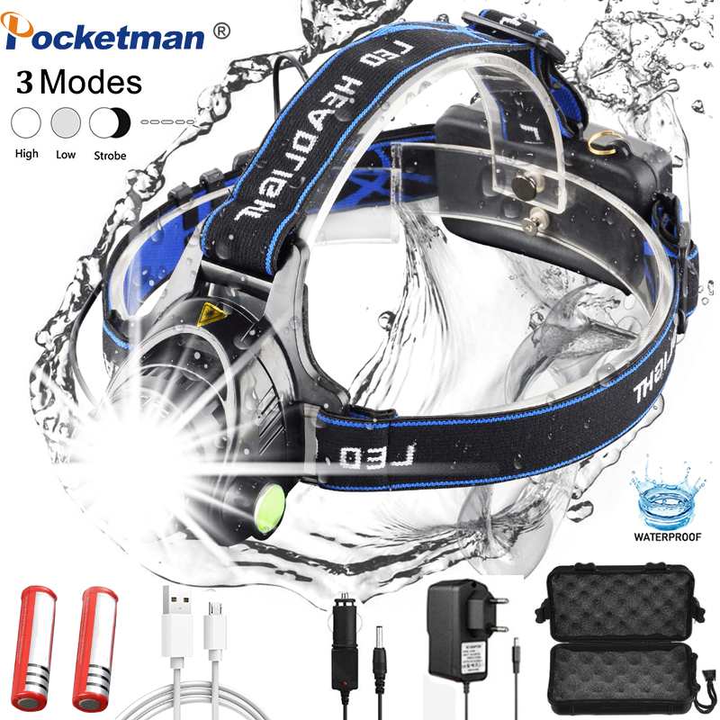 Headlamps 8000lumen Led Headlamp L2/T6 Zoomable Headlight Head Torch Flashlight Head Lamp By 18650 Battery For Fishing Hunting
