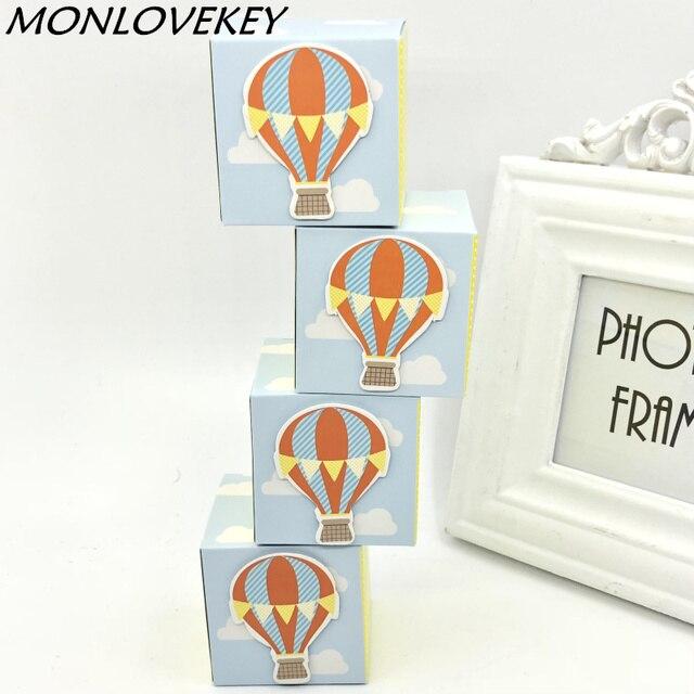 30pcs Up Up And Away Hot Air Balloon Wedding Candy Favor Box Baby