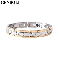 GENBOLI Fashionable Men Titanium Steel Health Energy Bracelet Male Rhinestone Silver Gold Bracelet Bangle Jewelry Best