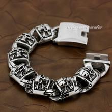 5 länge Riesige Schwere 316L Edelstahl Pirate Schädel Herren Jungen Biker Rock Punk Curb Link Armband 5T002