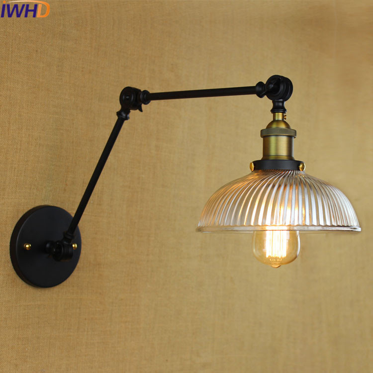 IWHD Vintage Led Wall Lights For Home Retro Glass Iron Loft Wall Lamp Black Bedroom Lighting Stairs Beside reading Light FixtureIWHD Vintage Led Wall Lights For Home Retro Glass Iron Loft Wall Lamp Black Bedroom Lighting Stairs Beside reading Light Fixture