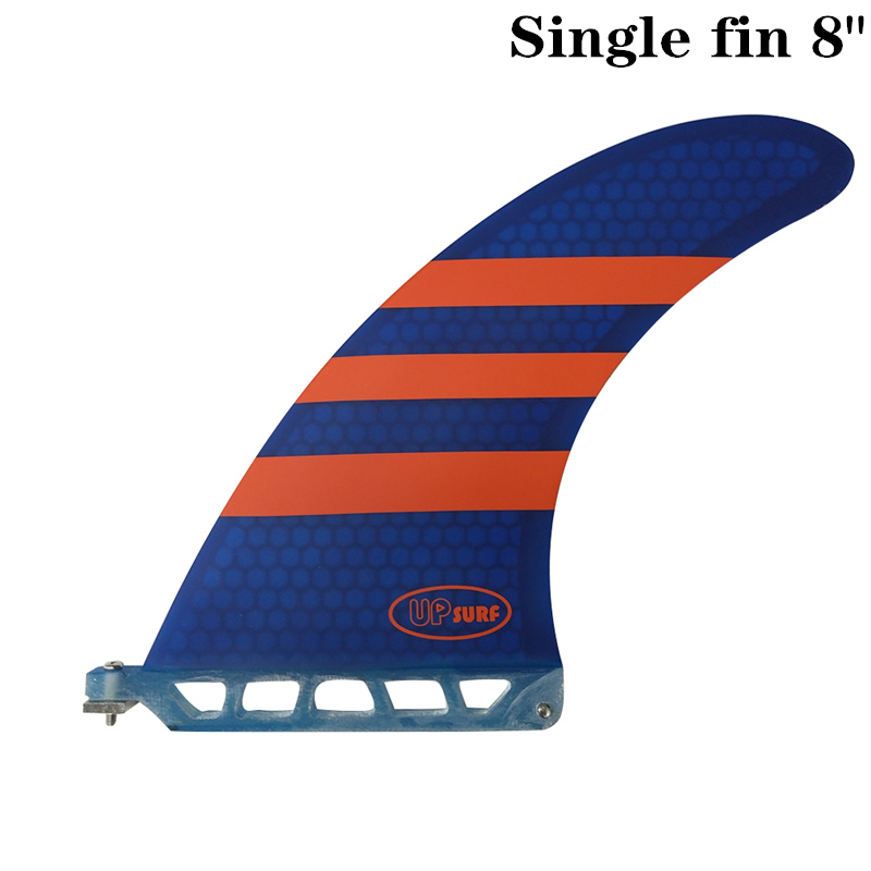Surf longboard fin 8 inch Barbatana Surf 8 inch Fin Fibreglass Barbatana in Surfing single Fin stand up paddle Red/Blue color image