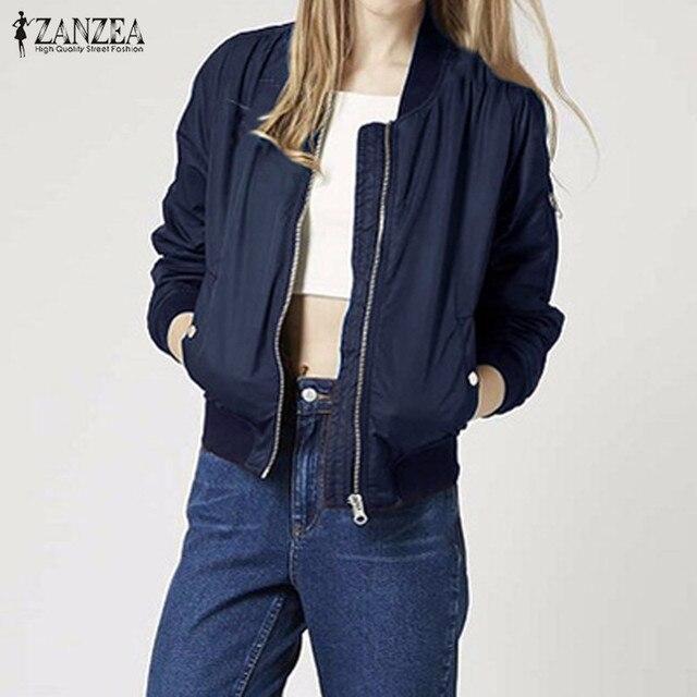 7c98a4f59388c ZANZEA New Arrival 2018 Autumn Women Chic Stand Neck Long Sleeve Pockets  Zip Coat Casual Solid Bomber Jacket Coats
