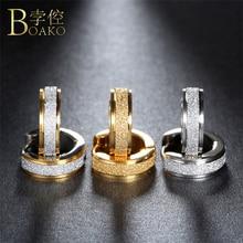 BOAKO Aros 316L Stainless Steel Earrings for Women Men Fashion oorbellen Punk Ho