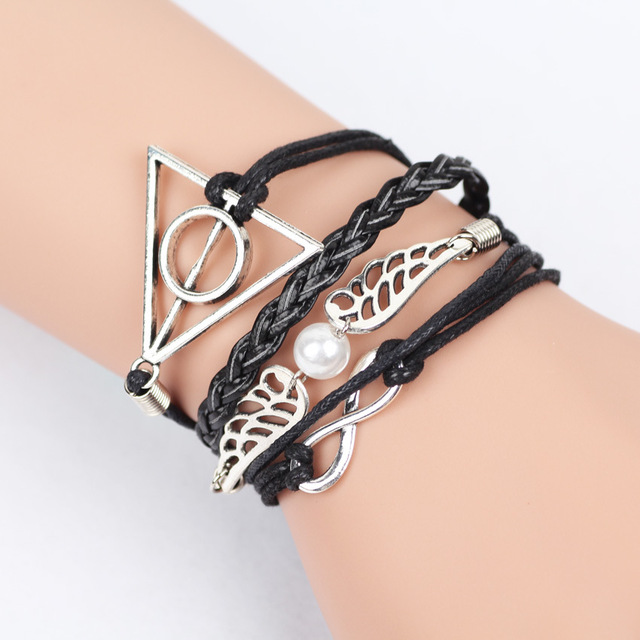 Vintage Leather Rope Harry Potter Deathly Hallows Bracelets Hand Weave Multilayer Bracelets for Movie Fans Jewelry Gift