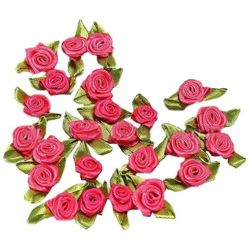 FJS-100pcs Mini Satin Ribbon Rose Flower Leaf Wedding Decor Appliques Sewing DIY Main Color:Orange