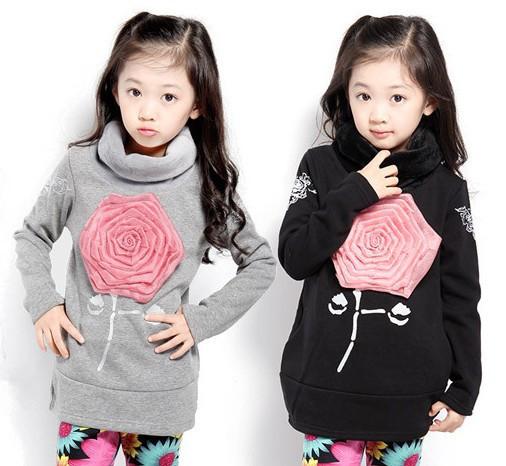 Y-13, 1 pc varejo, crianças Menina Camisolas, terry manga comprida 3D subiu camisa de T, 100% algodão