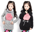 Y-13, 1pc retails, Children Girl Sweatshirts, long sleeve terry 3D rose T shirt, 100% cotton