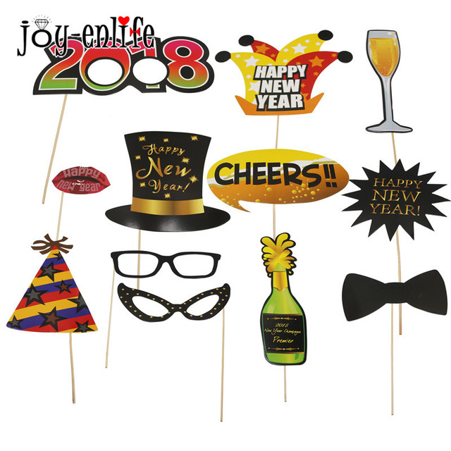 JOY ENLIFE 12pcs/lot 2018 New Years Fun Photo Booth Props Funny Mask ...