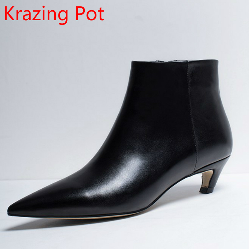 New Fashion Winter Shoes Genuine Leather  Pointed Toe Strange High Heels Chelsea Boots Streetwear Handmade Women Ankle Boots L8r pearl high heels shoes thick green women strange suede abnormal catwalk genuine leather pointed toe strap mary jane lace up