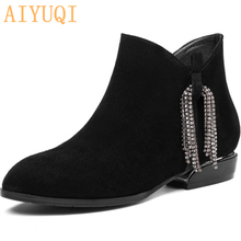 AIYUQI 2019 New Autumn And Winter Leather Womens Booties British Style Suede Boots Women Sexy Martin Shoes