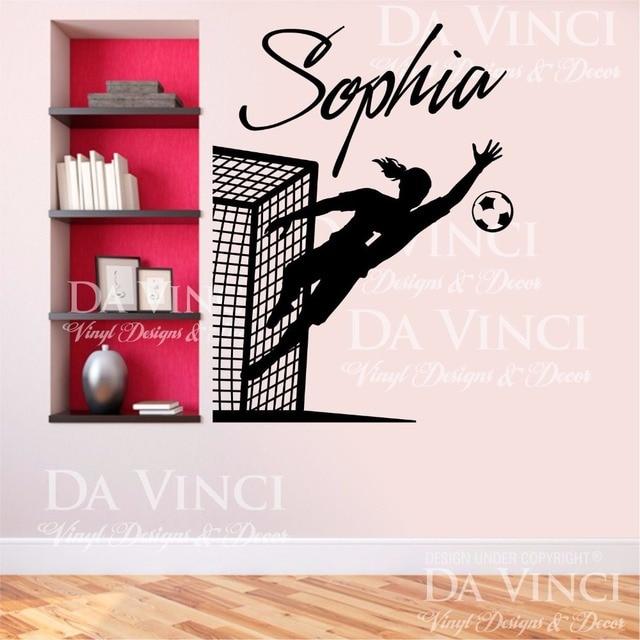 Soccer Player Goalkeeper Vinyl Wall Decal Personalized Custom Girl Name  Football Sport Art Wall Sticker Bedroom