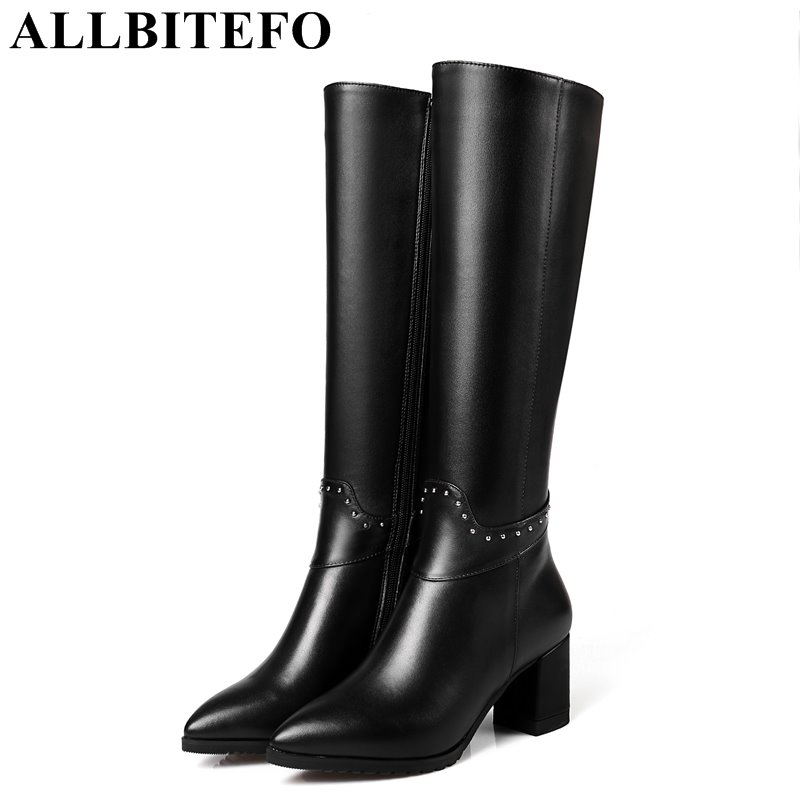 ALLBITEFO genuine leather+pu thick heel women boots brand rivets medium heel women knee high boots winter snow boots size:33-43 allbitefo golden zip decorate fashion spring winter snow shoes genuine leather pu women boots casual knee high boots size 33 43
