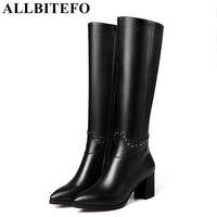 ALLBITEFO Genuine Leather Pu Thick Heel Women Boots Brand Rivets Medium Heel Women Knee High Boots