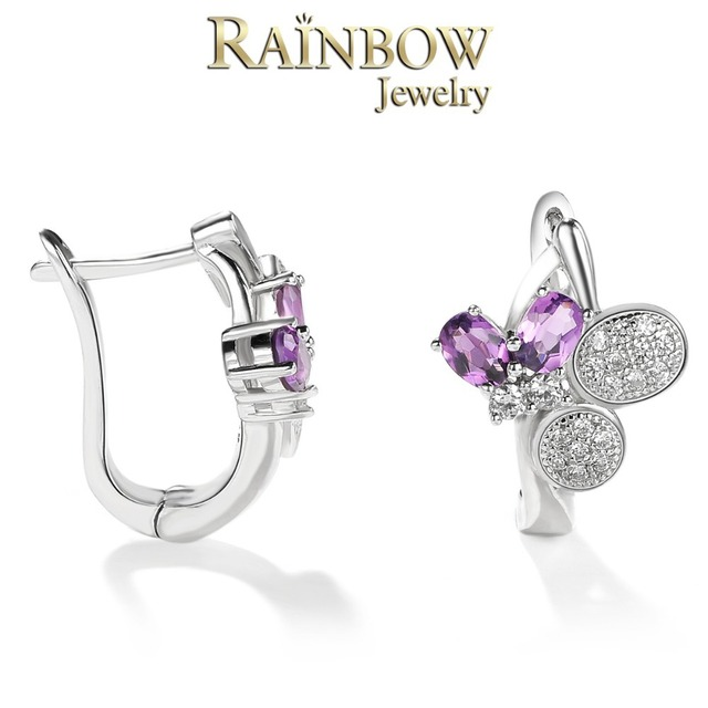 100% 925 Sterling Silver Natural amethyst Jewelry butterfly Super Ear Buckle Silver Earrings Top Quality!! Free Shipping RJE002
