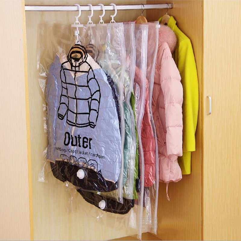 1pc Vacuum Clothing Storage Bags Foldable Space Saver Clothes Compression Organizer Vacuum Seal Storage Sacks with Hanger 70 80