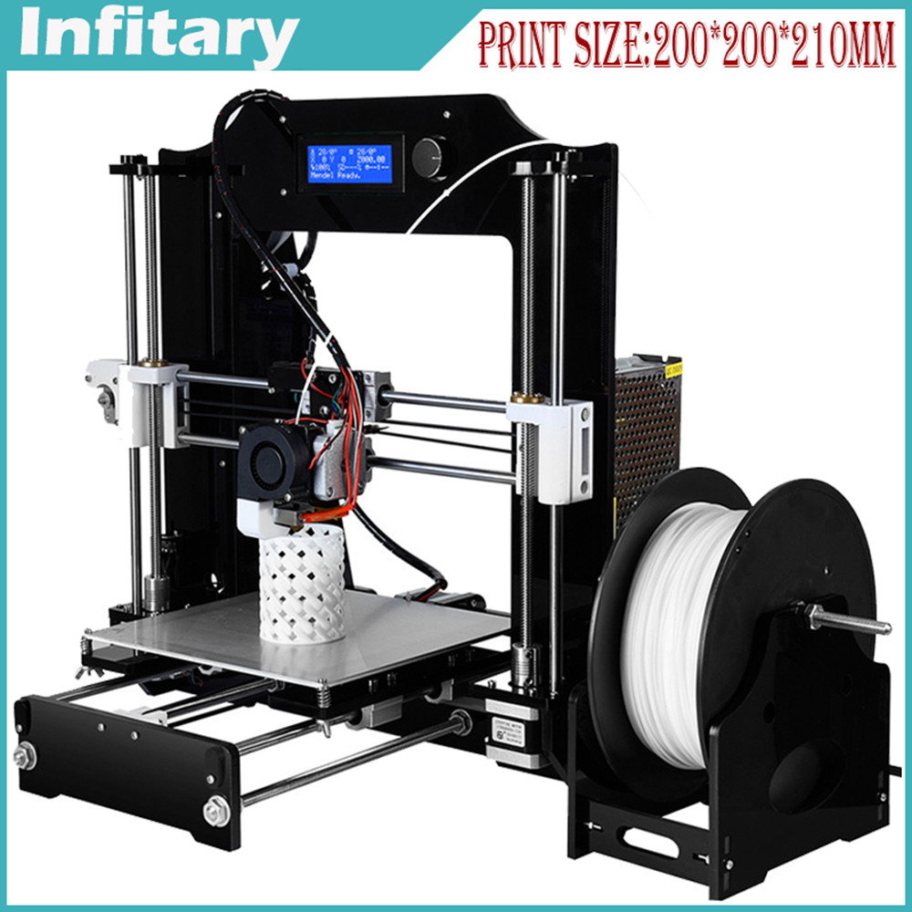 Infitary upgarde 3D printer High Precision Reprap Prusa i3 kits with one roll filament 8G SD card & LCD Free & impresora 3d