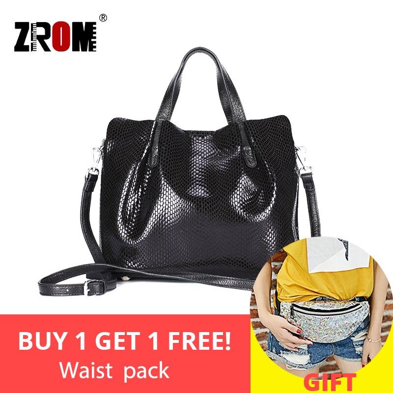 ZROM Brand Genuine Leather Women Handbags High Quality Fashion Ladies Shoulder Bag Melon Seed Color Top