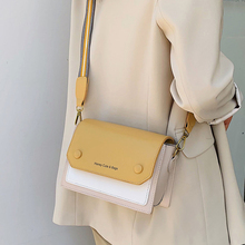 ETAILL High Quality PU Leather Panelled Women Bag Contrast Color Lady Tote Shoulder Messenger Wide Strap Crossbody Bags