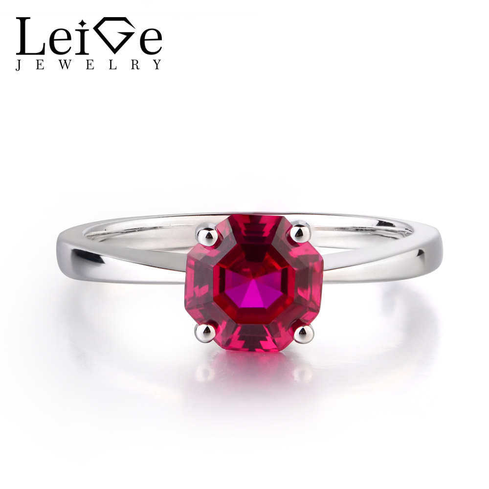 Leige Jewelry Lab Created Ruby 925 Sterling Silver July Birthstone Octagon Cut Engagement Solitaire Rings For Woman