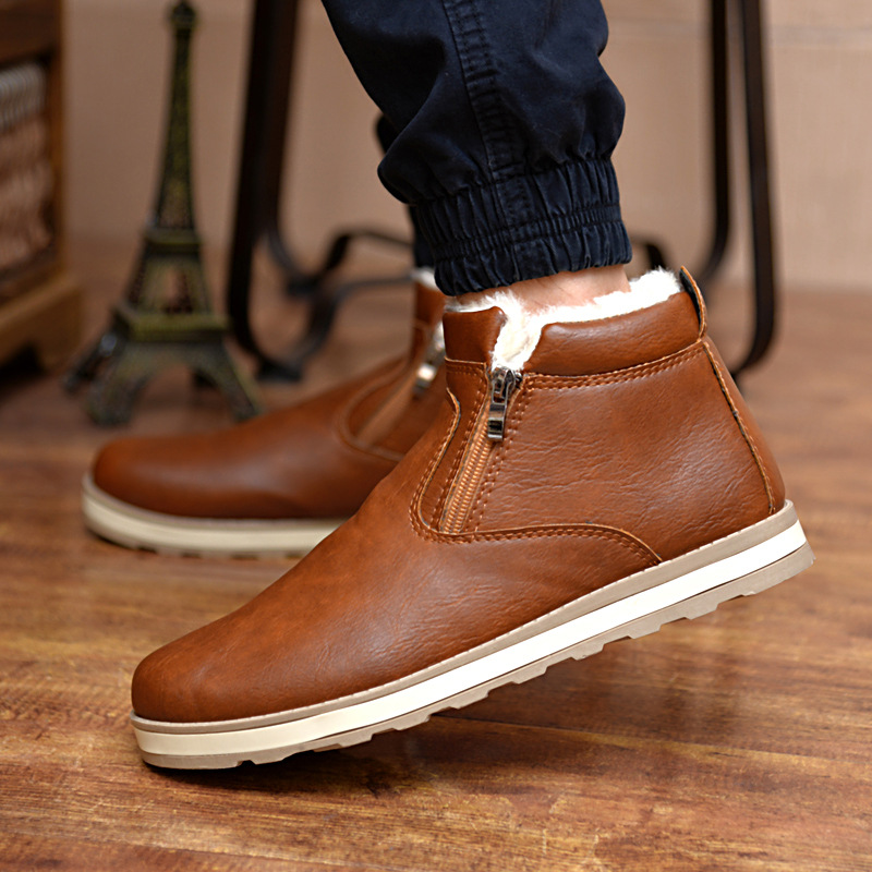 Hemmyi 2017 new Leather Boots Men Winter Ankle Boots Zipper Keep Warm Leather Shoes Male Botas