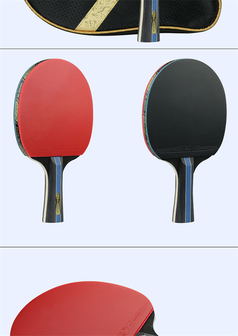 Huieson 7 Ply Pure Wood Table Tennis Racket Double Face Pimples-in Sticky RubberPong Paddle Bat for New Learners (6)