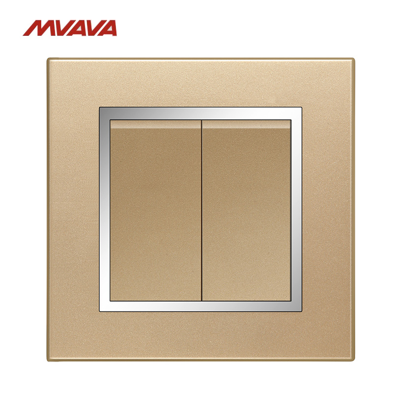 MVAVA 2 Gang 1/2 Way Light Control Switch Wall Decorative Chromed Push Button Luxury Champagne Gold PC Panel Free Shipping usb thermostat temperature control push button switch timer switch third gear with led light line 5v 2 5a