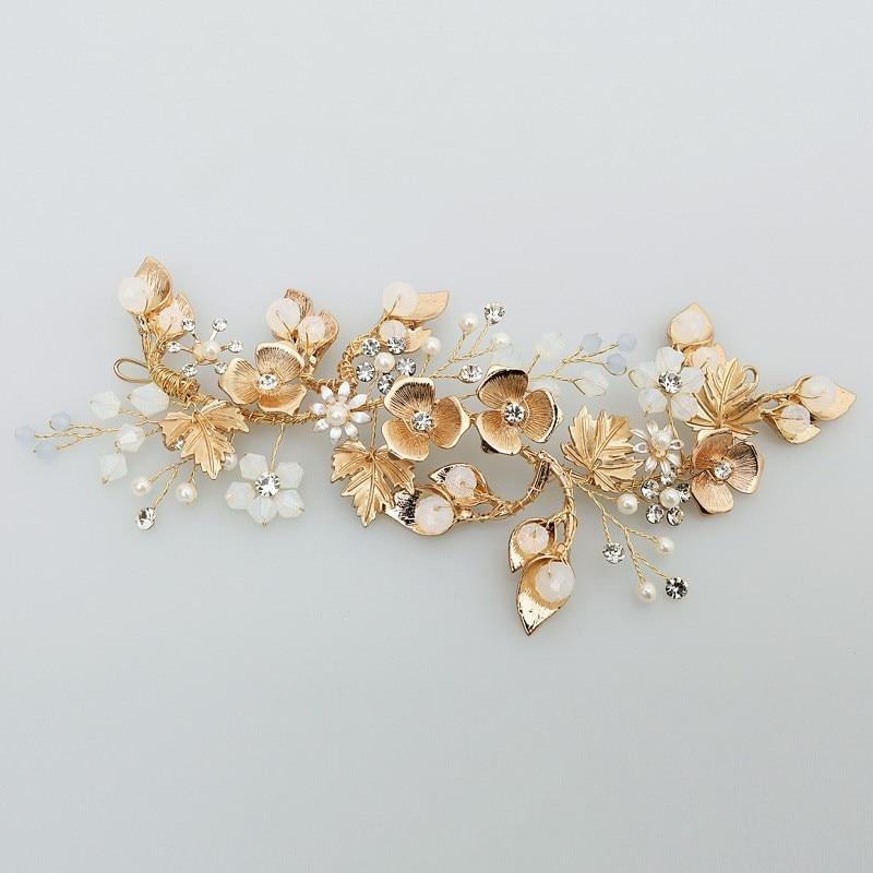 все цены на Jonnafe Boho Gold Leaf Hair Vine Bridal Headband Pearls Wedding Hair Jewelry Wreath Women Headwear Handmade