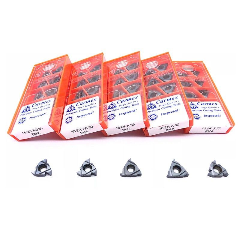 Insert 100 Original 16ER AG55 A55 G55 AG 60 BMA CNC external thread insert thread carbide