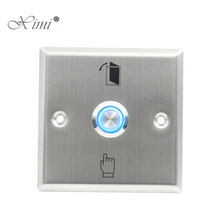 Metal Exit Button With Led Light Good Quality Stainless Steel Press Exit Switch For Access Control System Night Version Exit(China)