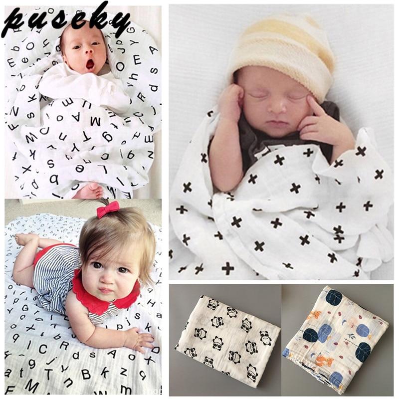 Puseky Toddler Newborn Baby Infant Kids Muslin Swaddle Soft Sleeping Blanket Wrap Bath Towel Swaddle Blanket Towel 120*120cm