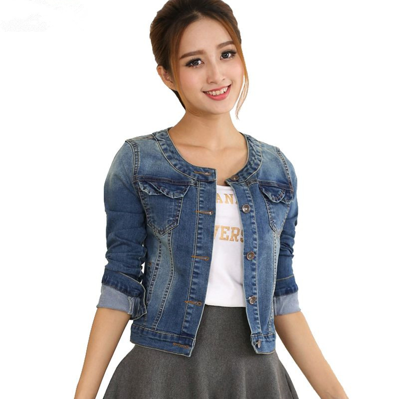Aliexpress.com  Buy 2017 Spring Women Denim Jacket Plus Size Long Sleeve O Neck Short Jeans ...