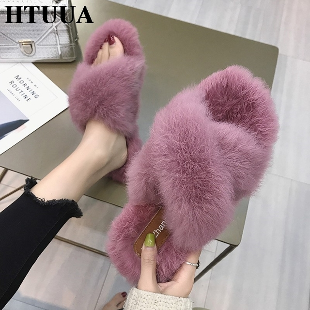 4a6ff6dc4854 HTUUA Fashion Fluffy Fur Slippers Women Warm Plush Winter Slippers Flat  Furry Slides Indoor Floor Home Slippers Cozy Shoes S1764