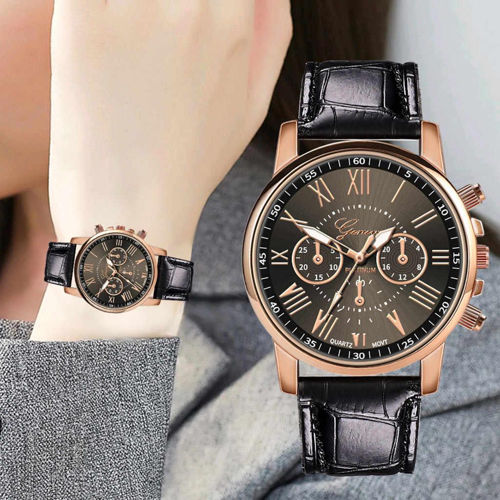 新ファッション女性レザーバンドクォーツアナログ腕時計