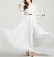 Summer Autumn Long Sleeve White Sundress Holiday Beach Maxi Dress Party Guest Sundress Plus Size Boho