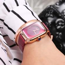 Marca de moda Relojes de Las Mujeres Señoras del Cuero Genuino Cuadrados reloj de mujer Reloj de Vestir de Lujo de Las Señoras de Cuarzo Reloj de pulsera Montre Femme