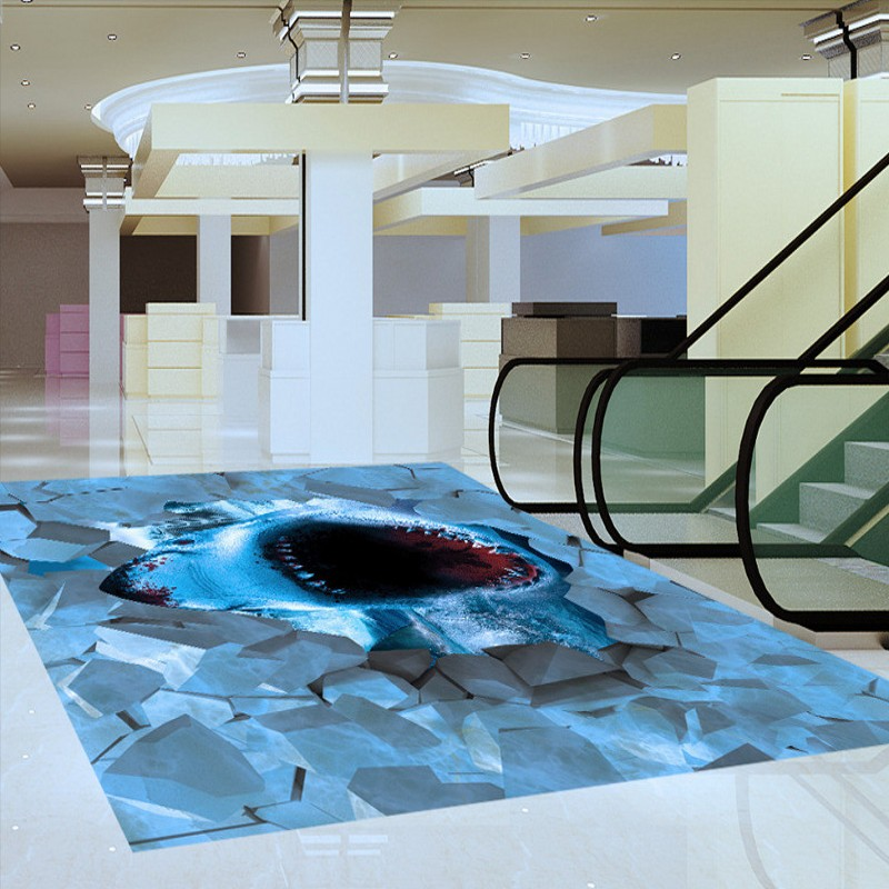 Free shipping large shark broken floor event 3d pictures for Pool design graphic