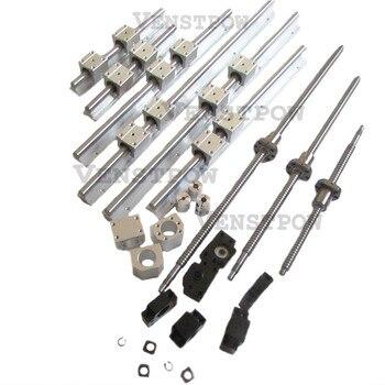 3 шт. болты шариковые винты + 3 комплекта направляющих SBR + 3 комплекта BK/BF12 + 3 шт. муфты