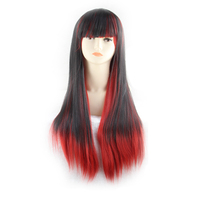 QQXCAIW Long Straight Cosplay Women Costume Party Mixed Black Red Ombre 68 Cm Synthetic Hair Wigs
