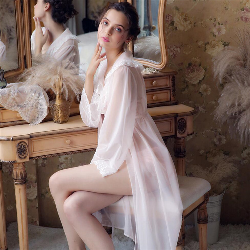 Sexy See Through Three Pieces Sleepwear Luxury Lace Ruffled Kimono Ladies Chemise Top And Pant Lingerie Nightwear T365