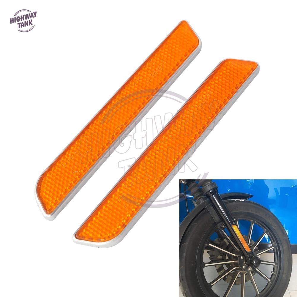 Orange Motorcycle Front Fork Leg Reflectors Shock Case for Harley Dyna Fatboy Softail Lower Leg Slider bande réfléchissante scooter orange pour fourche