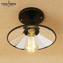 Lámpara de techo de cristal de espejo Vintage de Loft lámpara de techo Retro bombilla Industrial Edison lámpara de pantalla antigua accesorio de iluminación Ambilight