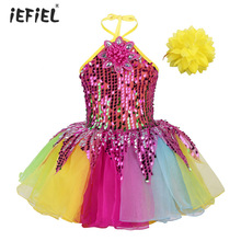 Yürüyor Çocuk Kız Balo Salonu Dans Giyim Kıyafet Çiçek Tutu Elbise Halter Boyun Sequins Renkli Kızlar Bale Elbise Dans Performansı