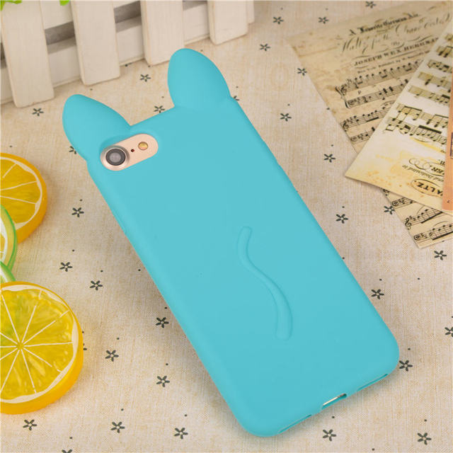 3D Cute Cat Ears Soft TPU Silicone Phone Case for iPhone 6 6S 6Plus 7 7Plus 8 8Plus Cases 5 5S SE Candy Colors Cartoon Cover