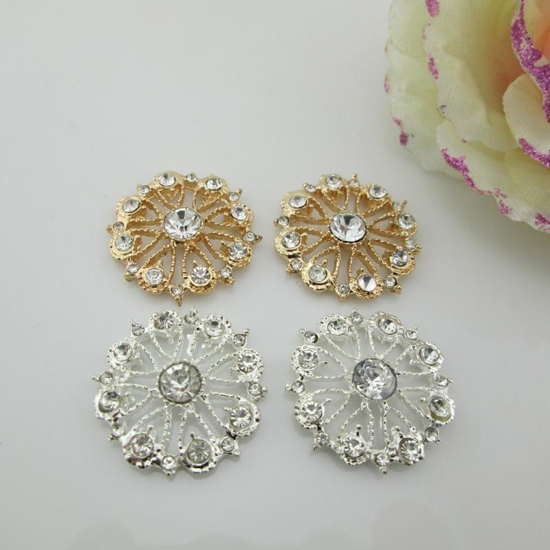 2pcs Rhinestone Silver// Gold Tone Flower Shank Button Sewing Embellishment Craft