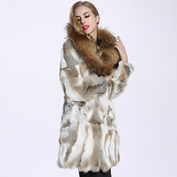 2016 Autumn and Winter Raccoon Fur Collar Rabbit Fur Coat Women's Long Fur Outwear BE-1645 Free Shipping 2