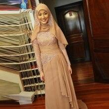 Elegant Khaki Islamic Champagne Long Sleeve Muslim Evening Dresses in Dubai Arabic Hijab Caftan Abyie Applique